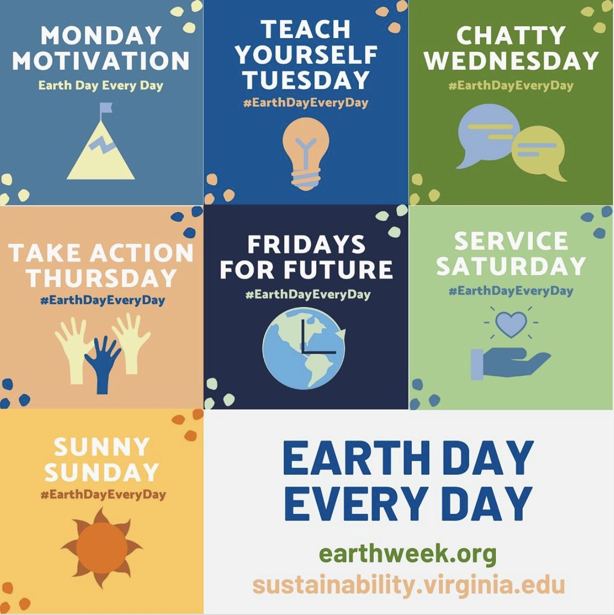 Combined graphic of each Earth Day theme (i.e. Monday Motivation, Teach Yourself Tuesday, etc.)
