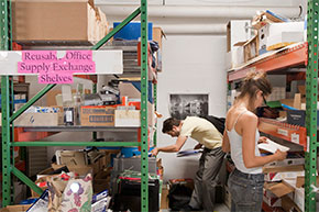 Students shopping at the free Reusable Office Supply Exchange store in the Recycling building