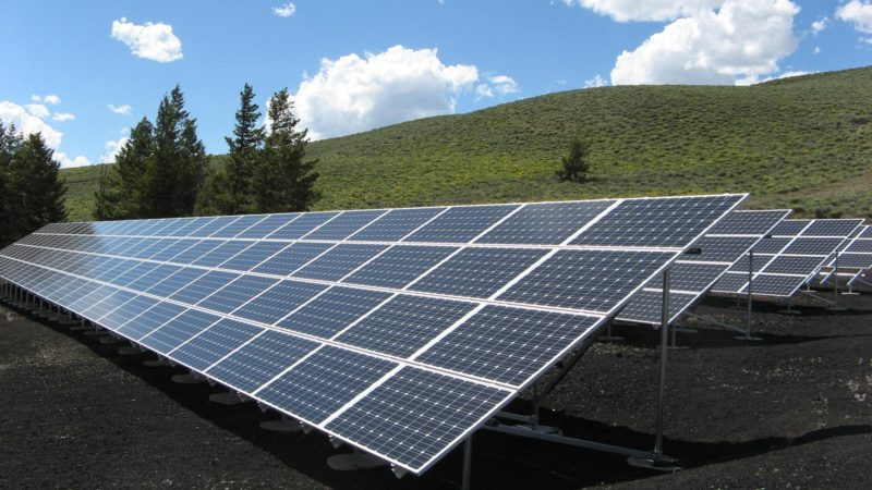 3 solar panel rows in a field