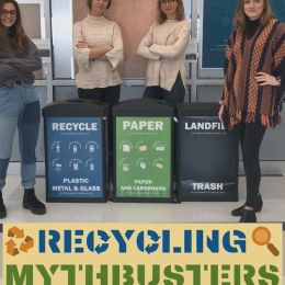 Four female students surrounding recycling and landfill bins, with a recycling myth busters cover