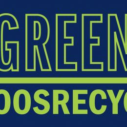 UVA Green Game # hoos recycle logo with bright green words on a uva blue background