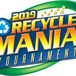 2019 RecycleMania logo, 2019 Recycle Mania Tournament words in a green oval with a blue recycle symbol and yellow stars