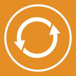 White recycling arrows inside of a white circle on an orange background