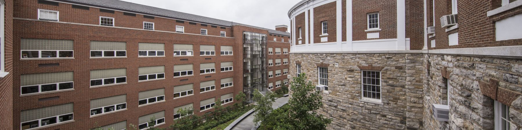 Cabell Courtyard with grey skies and greenery