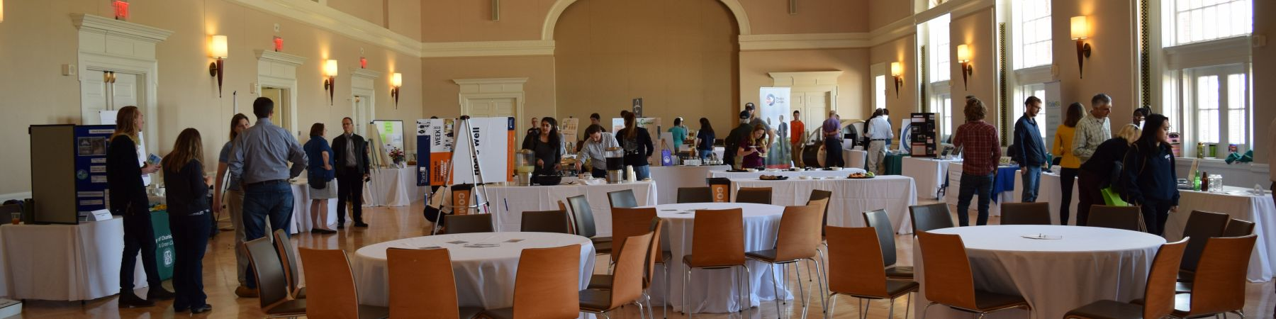 Newcomb Ballroom with Earth Week expo attendees at tables